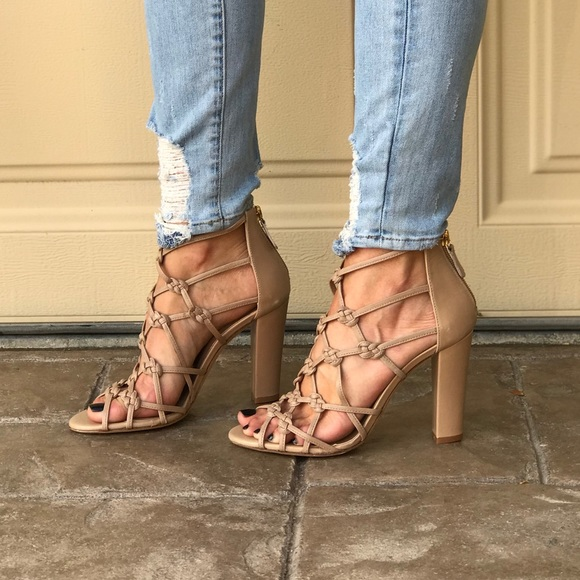 96a8682f593 NIB Knotted Caged Leather Block Heel Sandal